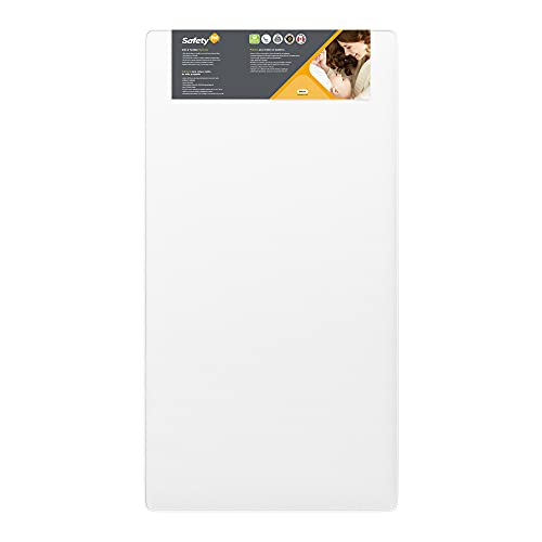 Safety 1st Heavenly Dreams White Crib & Toddler Bed Mattress for Baby & Toddler -Water Resistant- Lightweight -Hypoallergenic -Green Guard Gold Certified -Large, White, Crib