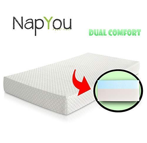 Official Amazon Exclusive NapYou Dual Comfort Crib Mattress, Firm Side for Infant & Soft Side for Toddler with 100% Waterproof Cover Made with Organic Cotton - Reversible Baby Mattress