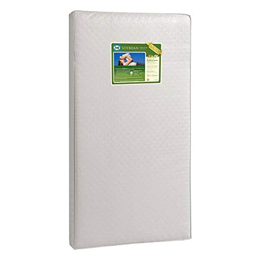 "Sealy Baby Soybean Foam-Core Waterproof Standard Toddler & Baby Crib Mattress – Lightweight Hypoallergenic Soy Foam, Design Pattern May Vary, 51.63"" x 27.25"""