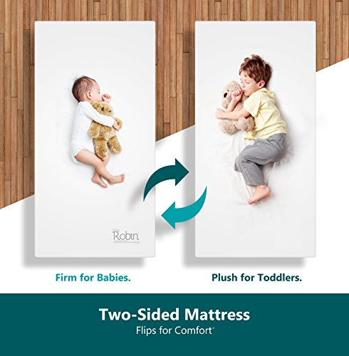 Moonlight Slumber Breathable Dual Sided Baby Crib Mattress. Firm Sided for Infants Reverse to Soft Side for Toddlers Bed. Easy to Clean Waterproof and Odor Resistant (Made in USA. Latest Version).